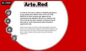 Primera pantalla de Arte.Red en febrero 2000.